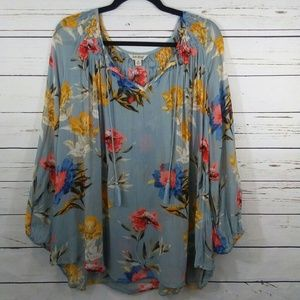 Lucky Brand sheer embroidered floral blouse